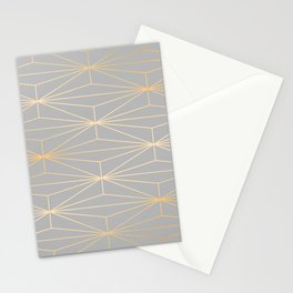 ELEGANT GRAY SILVER GOLD DIAMOND PATTERN Stationery Cards