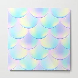 Magic Mermaid Scale, Pink and Blue Pastel Color Print Metal Print