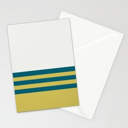 Off White, Dark Yellow and Tropical Dark Teal Inspired by Sherwin Williams 2020 Trending Color Oceanside SW6496 Straight Horizontal Triple Stripe Pattern 2 Stationery Cards