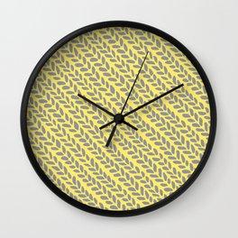 Knit Wave Grey and Yellow Wall Clock