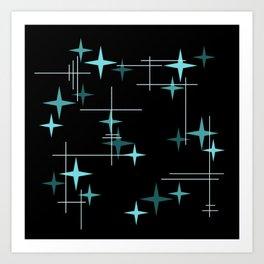 Mid Century Modern Stars Black Teal Art Print