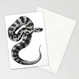 Black and white Moccasin Snake Illustration Stationery Cards
