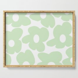 Large Baby Green Retro Flowers White Background #decor #society6 #buyart Serving Tray