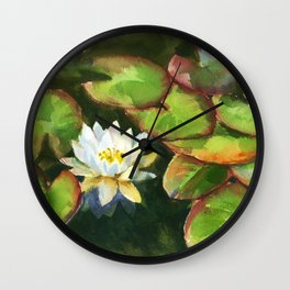 water lily in the pond, watercolor sketch from nature Wall Clock