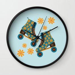 Retro Roller Skates - Teal and Orange  Wall Clock