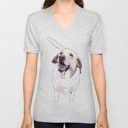 Labrador Dog (white) Unisex V-Neck