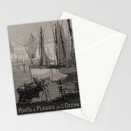 vintage placard ETAT Ports Plages Ocean voyage poster Stationery Cards