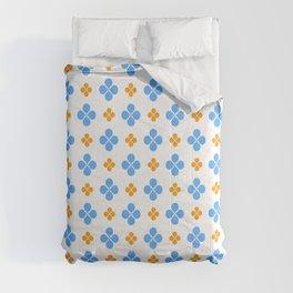 geometric flower 49 blue and orange Comforters