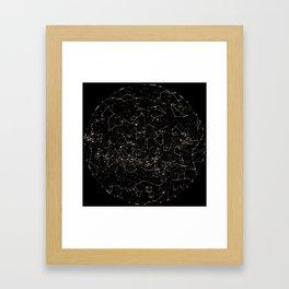 Constellations Map, Stars, Astronomy Cosmos Galaxy Framed Art Print