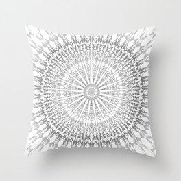 Gray White Mandala Throw Pillow