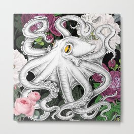 Octopus Tentacles Pink Roses Vintage Ink Chic Metal Print