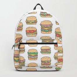 Hamburgers Junk Food Fast food on White Backpack