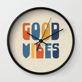 Good Vibes Positive Retro Typography in Blue, Orange, and Mustard on Light Beige Wall Clock