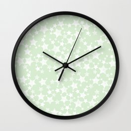Magical Mint Green and White Stars Pattern Wall Clock