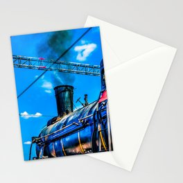 Retro Steam Locomotive And Black Smoke. The Number One Is Ready To Depart Stationery Cards