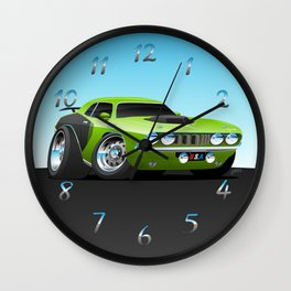 Classic Seventies Style American Muscle Car Cartoon Wall Clock