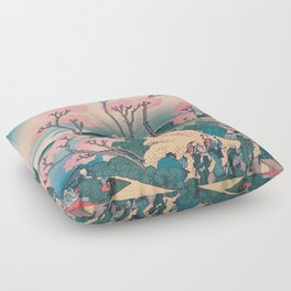 Spring Picnic under Cherry Tree Flowers, with Mount Fuji background Floor Pillow