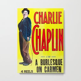 Charlie Chaplin - A Burlesque on Carmen, 1916 Vintage Poster for Wall Art, Prints, Poster, Tshirts, Men, Women, Kids Metal Print