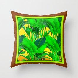 COFFEE BROWN TROPICAL GREEN & GOLD FOLIAGE ART Throw Pillow