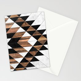 Urban Tribal Pattern No.9 - Aztec - Concrete and Wood Stationery Cards