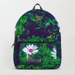 blooming white and purple flowers with green leaves Backpack