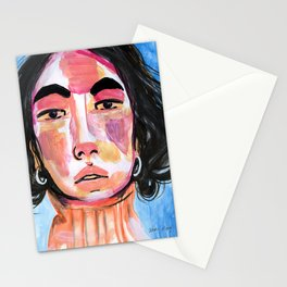 Mixed Media Portrait of Girl in New York Stationery Cards