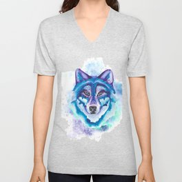 Bright Splash art Wolf Design Animal Lovers design Unisex V-Neck