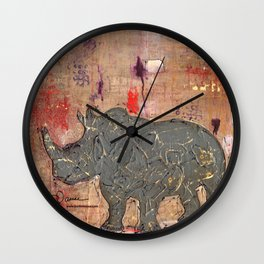 majestic series: rhino's are tough enough Wall Clock