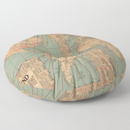 Vintage World Map Shipping Routes and Speeds (1923) Floor Pillow