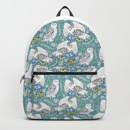 Snowy Owls on a Snowy Day - Teal Background Backpack