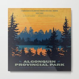 Vintage Algonquin Canada Travel Poster Metal Print