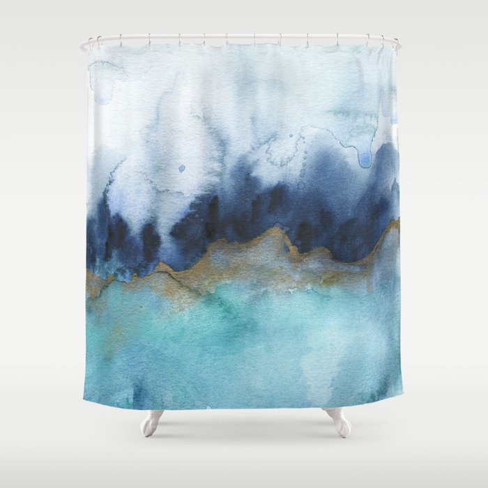 mystic abstract watercolor shower curtain by jenmerli