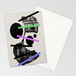 PENSIVE - Eclectic blend of geometric shapes, pastel colours, and black and white textures Stationery Cards