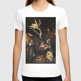 Nativity with St. Francis and St. Lawrence - Caravaggio T-shirt