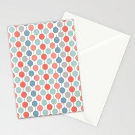 Coral Geometric Circles Retro Mid Century Modern Stationery Cards