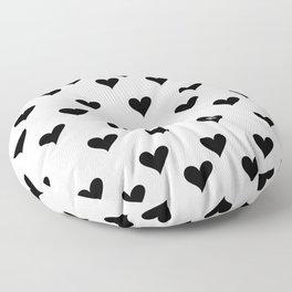 Retro Hearts Pattern Black White Floor Pillow