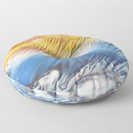 The Wind - abstract landscape watercolor monotype Floor Pillow