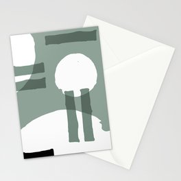 Mid-Century Modern Geometric Abstract Mint, Black & White Stationery Cards