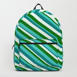 Turquoise, Dark Cyan, Mint Cream, and Green Colored Lined Pattern Backpack