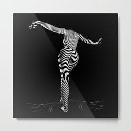 0489s-MM BW Zebra Striped Art Nude Figure Curves Metal Print