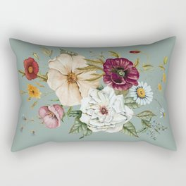 Colorful Wildflower Bouquet on Blue Rectangular Pillow
