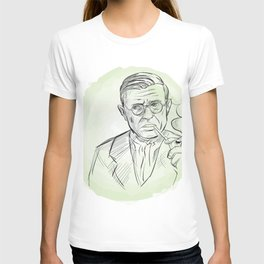 hand drawn portrait of Jean Paul Sartre . sketch style T-shirt