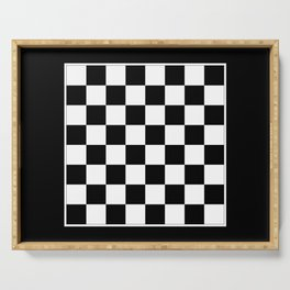 Vintage Chessboard & Checkers - Black & White Serving Tray