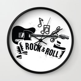 Rocknroll with guitar Wall Clock