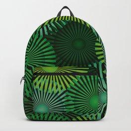 Vintage Geometric Floral Composition - Green & Black Backpack