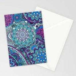 1960's Paisley Hippie Pattern in Blue, Purple, Green Stationery Cards