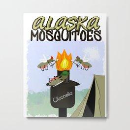 Alaska Mosquitoes Cartoon - Camping by Tiki Torch Metal Print