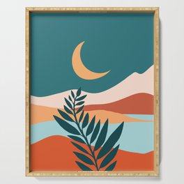 Moonlit Mediterranean / Abstract Landscape Serving Tray