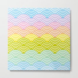 Seigaiha or seigainami literally means blue wave of the sea. rainbow pattern abstract scale Metal Print