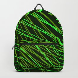 Rays of green light with intersecting light waves on black. Backpack